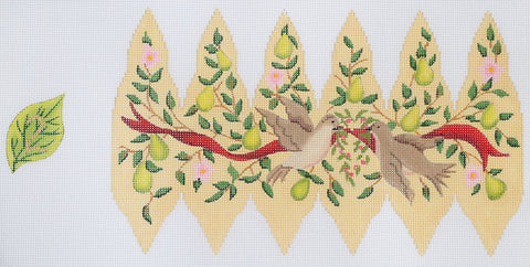 12 Days Pear - Turtle Doves Ornament - BeStitched Needlepoint