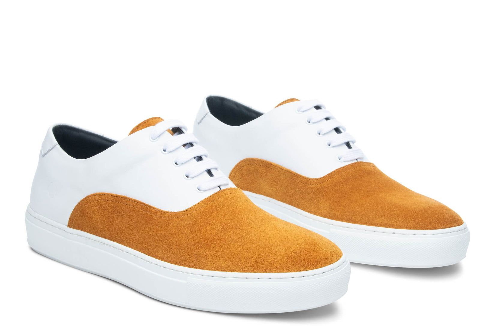 Sunday Two-Tone Skater Sneaker in White/Marigold