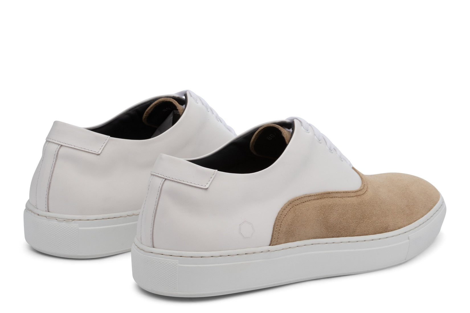 Sunday Two-Tone Skater Sneaker in White/Beige