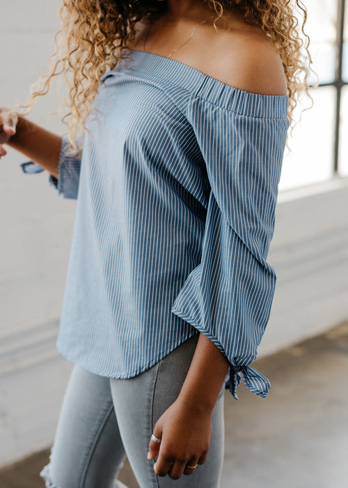 Off The Shoulder Tied Cuff Top