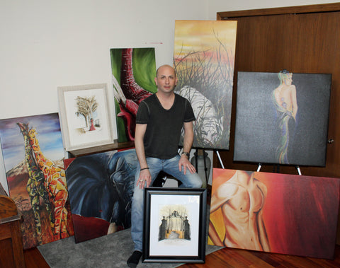 Neil with his Canvas Prints and Original Watercolour artwork