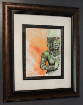 Buddha Angkor Wat. Artist Original Watercolour Pen&Ink Painting. Framed Wall Art. Home Decor - Neil Assenheimer