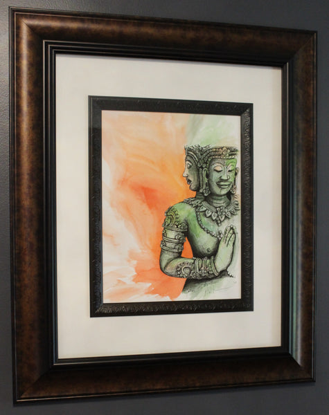 Buddha Angkor Wat. Artist Original Watercolour Pen&Ink. Framed Art