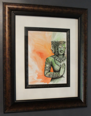 Buddha Angkor Wat. Original Watercolour Pen and Ink