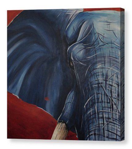 Elephant in Blue. Artist Original Canvas Print. Home Decor African Art