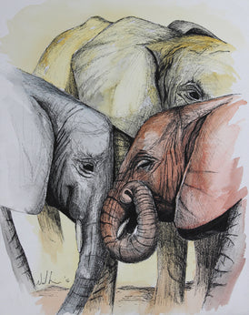 Trio of Elephants. Original Watercolour Pen and Ink - Neil Assenheimer