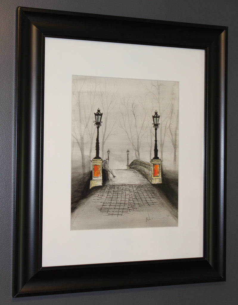 Lonely Bridge. Artist Original Watercolour Pen and Ink. Framed Home Decor
