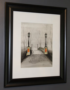 Lonely Bridge. Artist Original Watercolour Pen&Ink Painting. Framed Wall Art. Home Decor - Neil Assenheimer