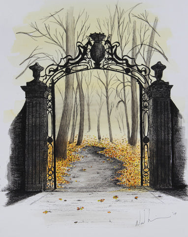 The Gate. Artist Original Watercolour Pen&Ink. Framed Home Decor Art