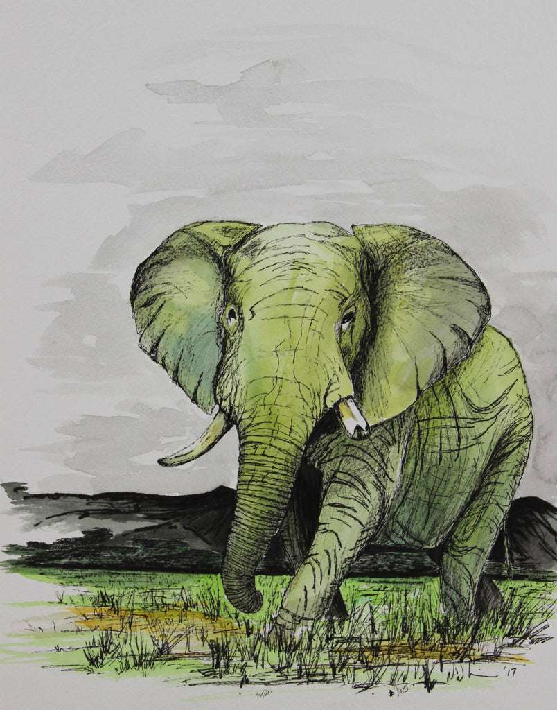 Green Elephant. Original Watercolour Pen and Ink - Neil Assenheimer