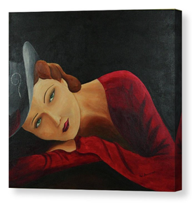 Lady in Red. Artist Original Canvas Print. 1930's Home Decor Wall Art