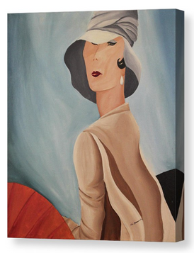 Lady that lunches. Artist Original Canvas Print. 1930's Home Decor