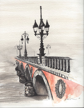 Bridge. Original Watercolour Pen and Ink - Neil Assenheimer