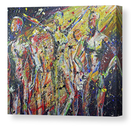 People. Artist Original Acrylic on Canvas Print