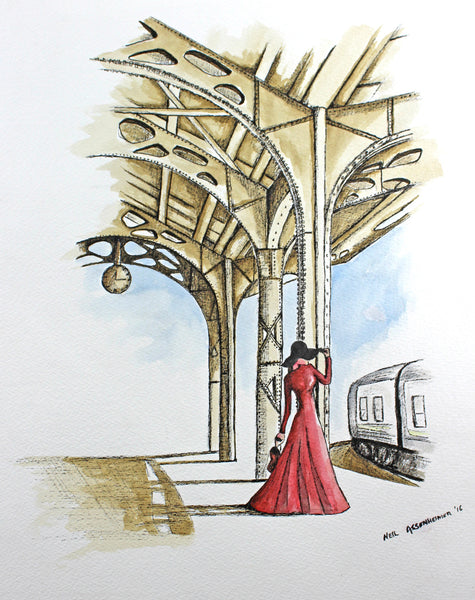 Lady Train Original Watercolour Pen Ink Abstract Painting