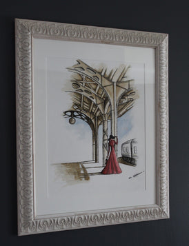Sophie. Artist Original Watercolour Pen&Ink Painting. 1930's Framed Wall Art. Home Decor - Neil Assenheimer