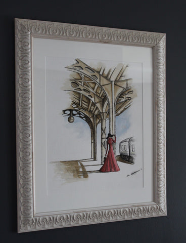 Sophie. Artist Original Watercolour Pen and Ink. 1930's Home Decor Art
