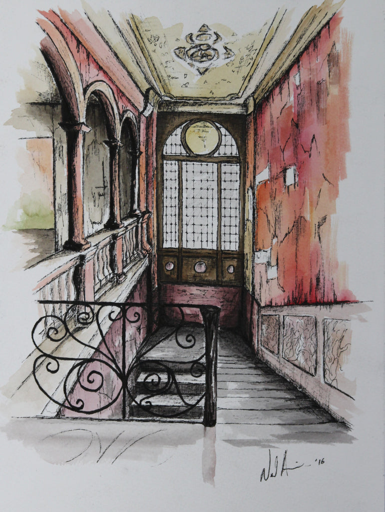 Forgotten Stairs. Original Watercolour Pen and Ink - Neil Assenheimer