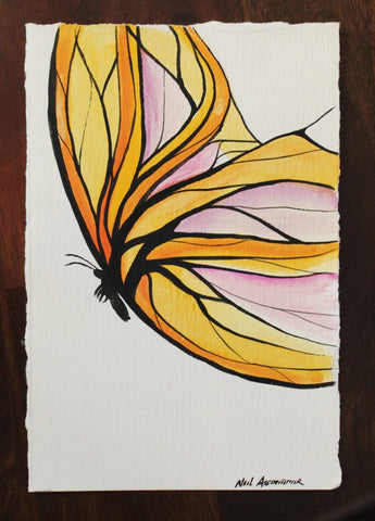 Butterfly in Orange, Yellow, and Purple. Watercolour Artist Original