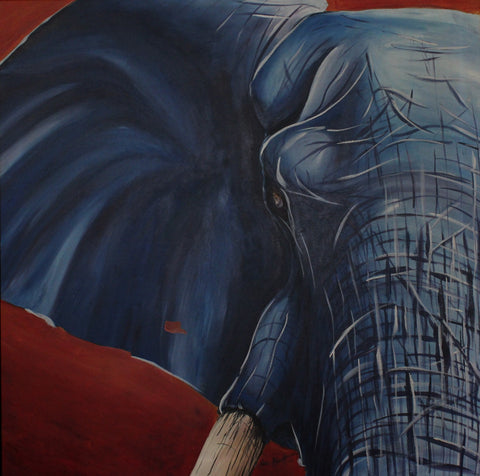 Elephant in Blue. Artist Original Poster Print. Home Decor African Art