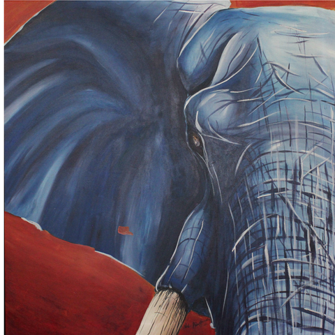 Blue Elephant Artist Original Canvas Print Abstract Art