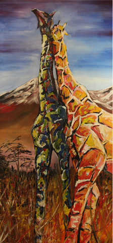 Giraffes Together Artist Original Canvas Print Abstract Art