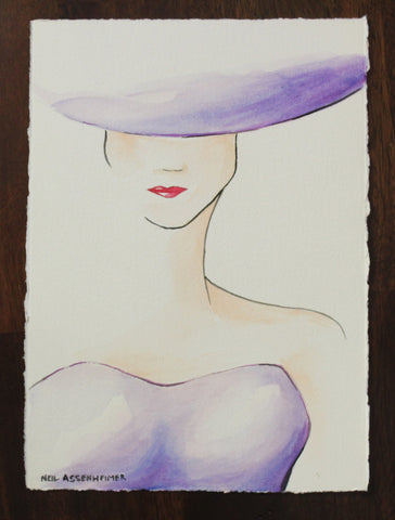 Lady in Purple. Artist Original Watercolour. Home Decor. Wall Art