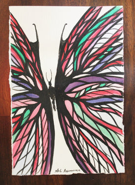 Multi Colour Butterfly. Original Watercolour - Neil Assenheimer
