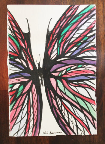 Multi Colour Butterfly. Artist Original Watercolour. Home Decor Art