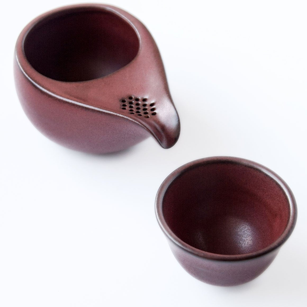 Fujisou Dew Drop Tea Set For One With Cup Brown