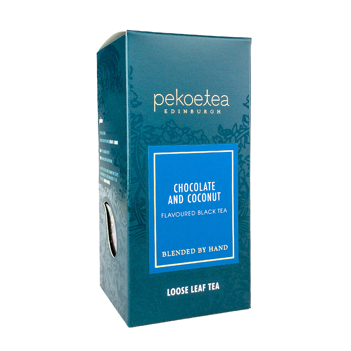 PekoeTea Edinburgh Chocolate and Coconut Hand Blended Tea Loose Leaf Box