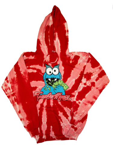 Tie-Dye Pullover Hooded Sweatshirt (Red)