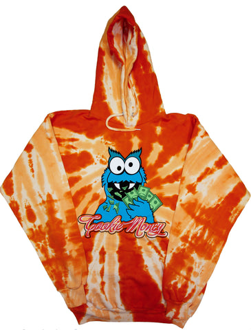 Tie-Dye Pullover Hooded Sweatshirt (Orange)
