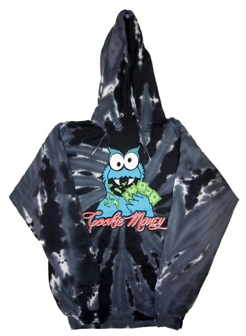 Tie-Dye Pullover Hooded Sweatshirt (Black)