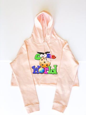 Women's Blush Cookie World Crop Hoodie