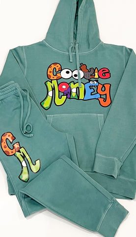 Green Cookie Money slim fit sweatsuit