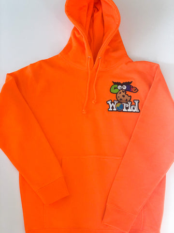 Orange Cookie World Heart Patch Hoodie