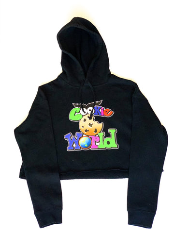 Women's Black Cookie World Crop Hoodie