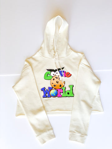 Women's Bone Cookie World Crop Hoodie