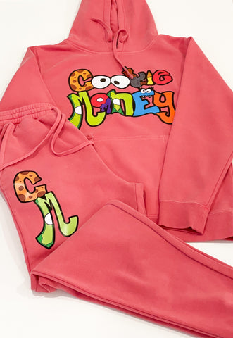 Magenta Cookie Money slim fit sweatsuit