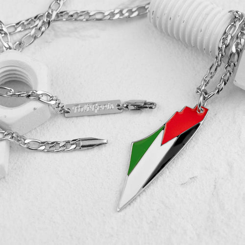 Palestine Map Flag Necklace