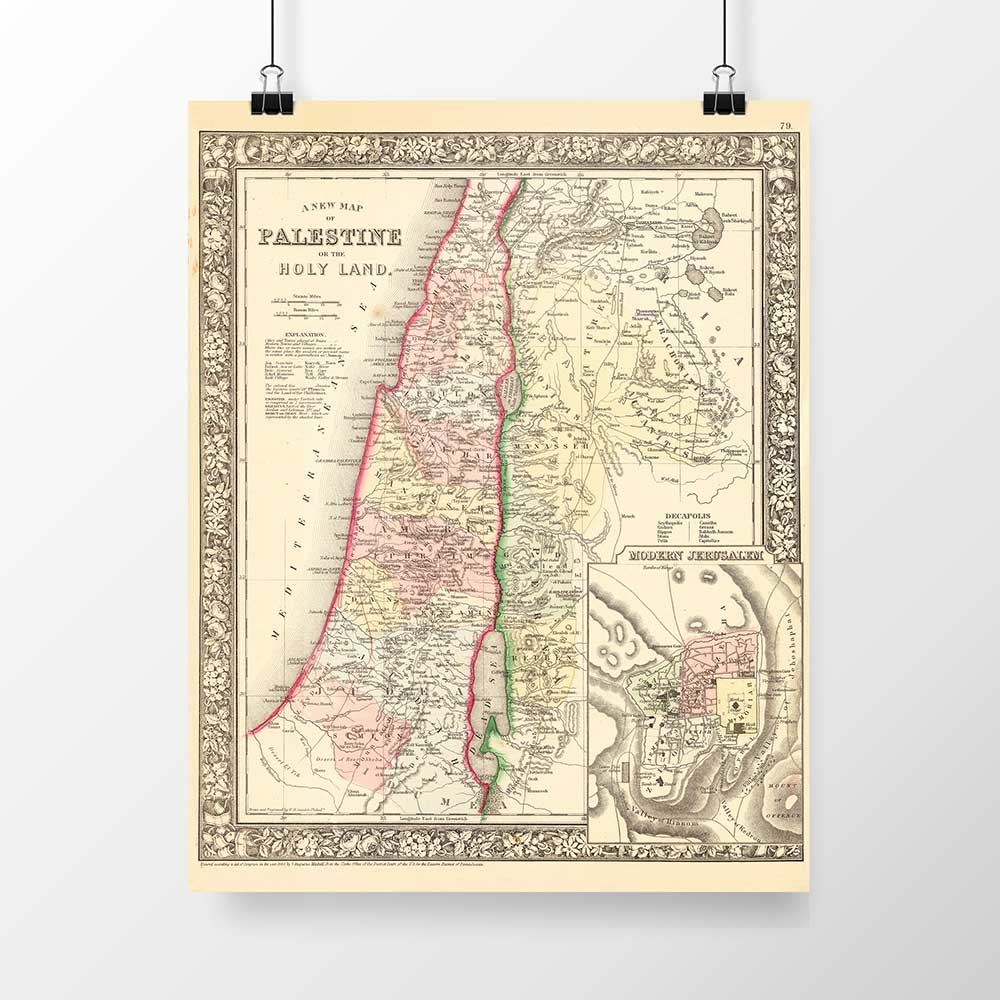 1867 Historic Map Of Palestine Print