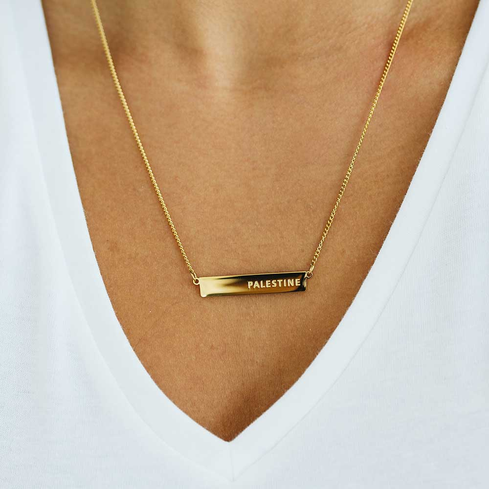 Palestine Bar Gold Necklace
