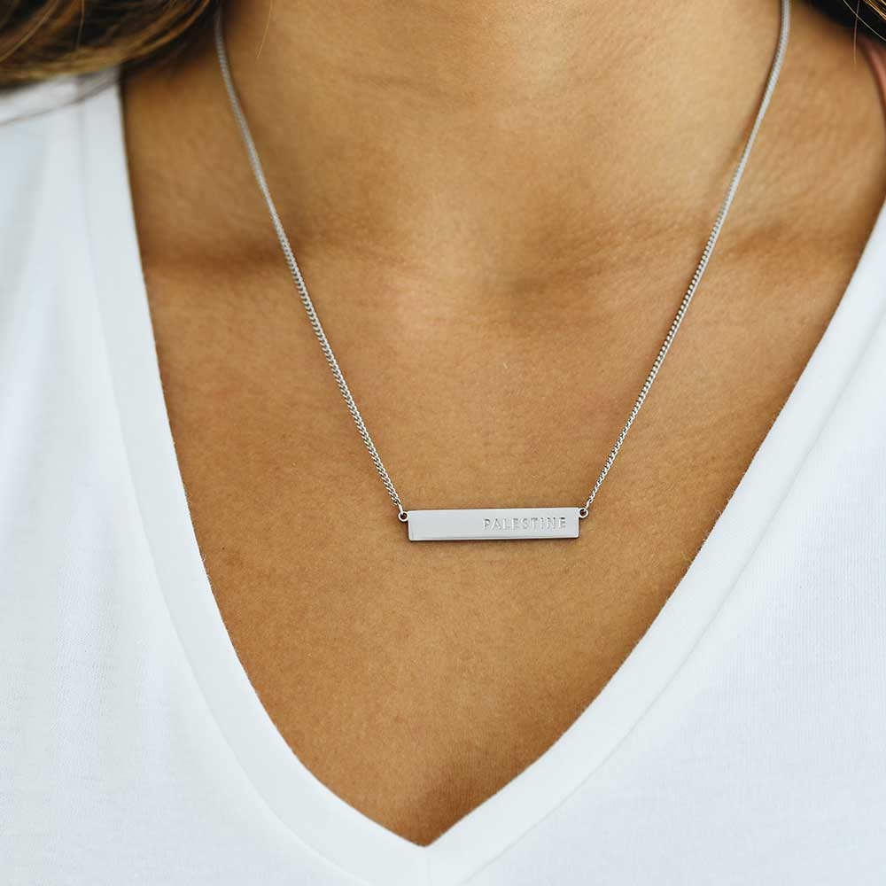 Palestine Bar Silver Necklace