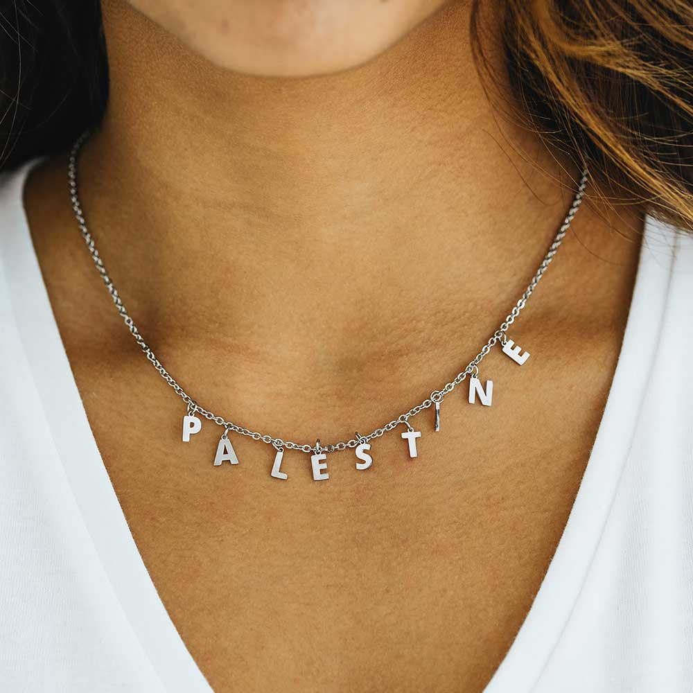 Palestine Letters Silver Necklace