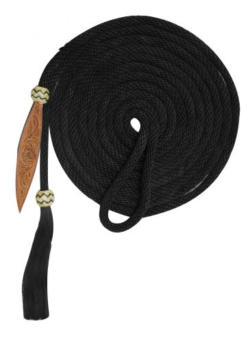 21' Nylon Mecatie Reins with Horse Hair Tassle and Leather Popper - [product_type} - Hamps Saddle & Tack