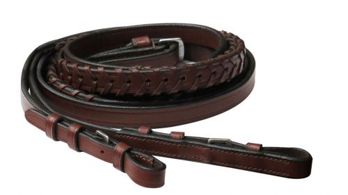 8ft Leather laced English reins - [product_type} - Hamps Saddle & Tack