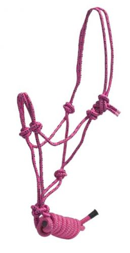 Showman Braided nylon cowboy knot rope halter - Hamps Saddle & Tack