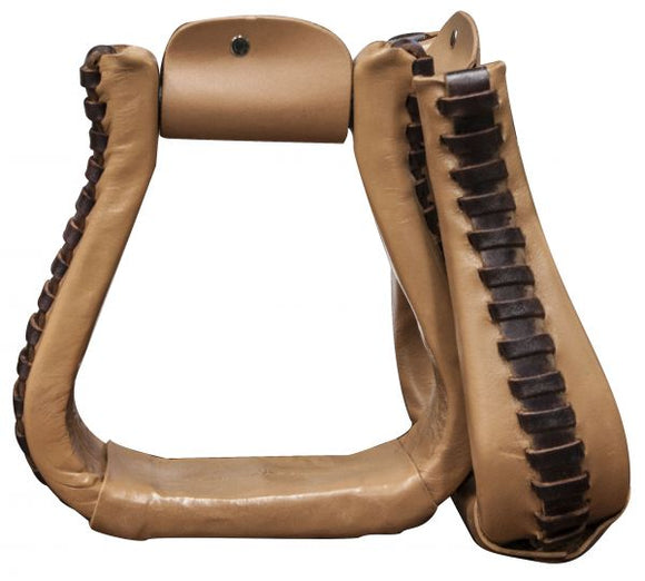 leather covered western stirrups