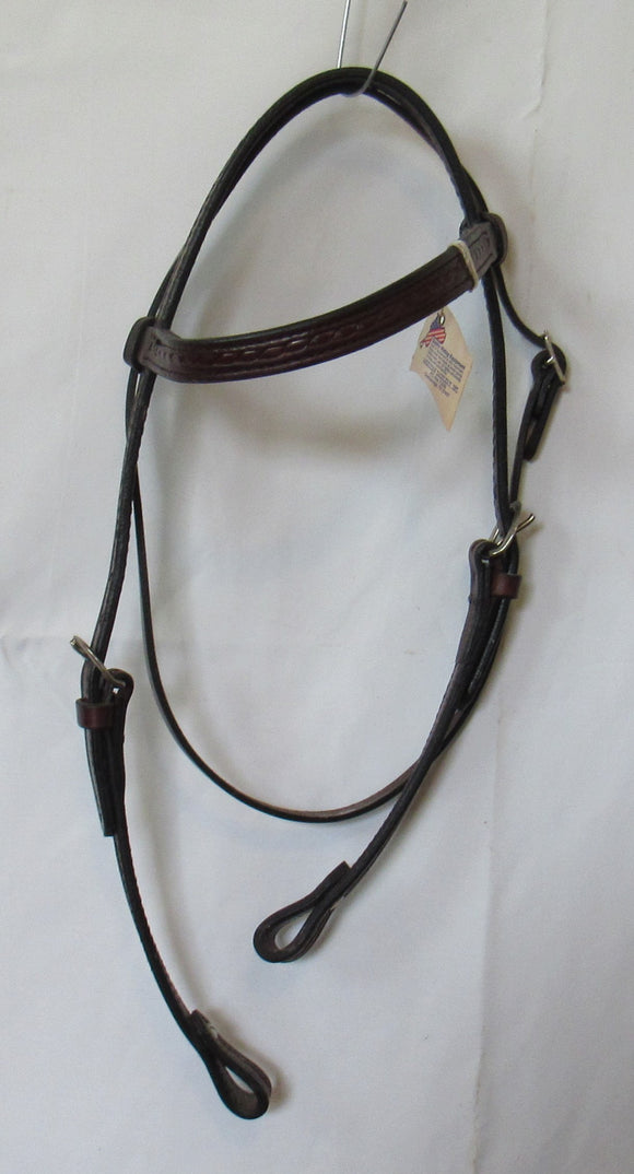 Double  Brow Band Headstall with rope border - [product_type} - Hamps Saddle & Tack
